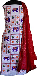 KATHIWALAS Women's Cotton Silk Kutch Work Bandhani/Bandhej Unstitched Dress Material Suit (WHITE RED, Free Size)