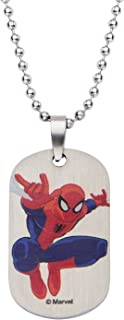 Marvel Comics Boys' Stainless Steel Spiderman Dog Tag Chain Pendant Necklace, 16""