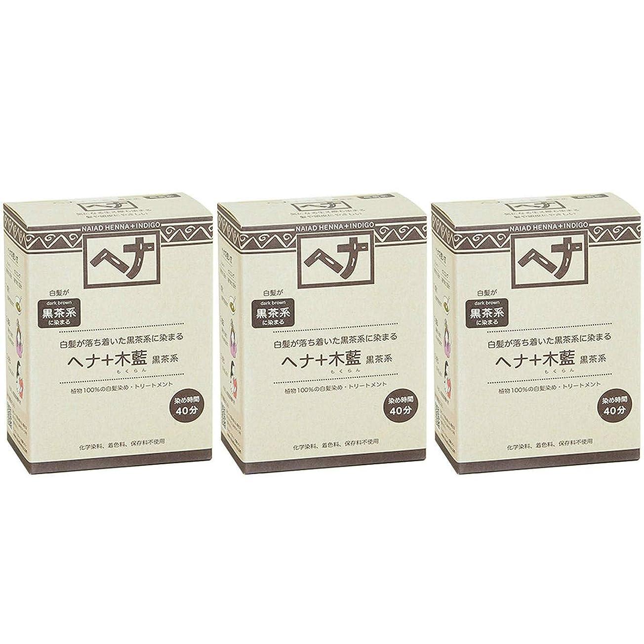 プレゼンテーション伝える場所ナイアード ヘナ + 木藍 黒茶系 白髪が落ち着いた黒茶系に染まる 100g 3個セット