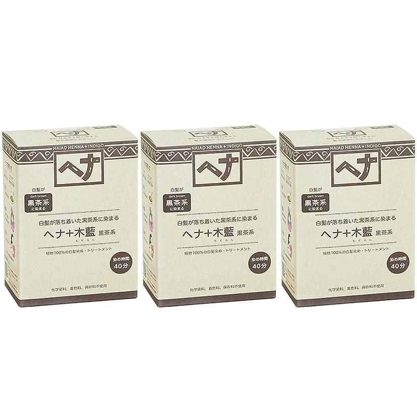 帽子急性偶然ナイアード ヘナ + 木藍 黒茶系 白髪が落ち着いた黒茶系に染まる 100g 3個セット