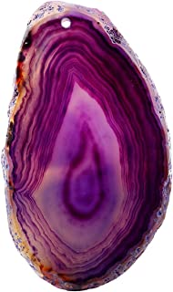 Nupuyai Polished Agate Stone Slabs Name Cards Place Cards for Wedding, Top Drilled Light Table Agate Slices Stone Pendants for Jewelry Making, Set of 10