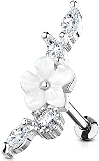 Forbidden Body Jewelry 16g Surgical Steel Fancy Design CZ Cartilage Stud Earring (Choose Style/Color)