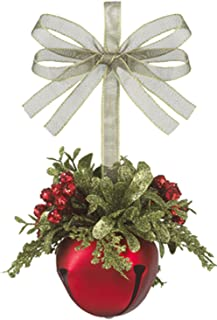 Ganz U.S.A., LLC Kissing Krystals Christmas 4 Mistletoe Red Sleigh Bell with Sage Green Loop Christmas Tree Ornaments for Your Holiday Decor Decorations Xmas Gifts (Red)