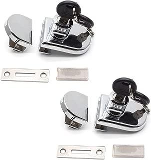 LICTOP 2 Pack Security Showcase Display Cabinet Glass Double Door Lock No Drill for 5-8mm Glass Door