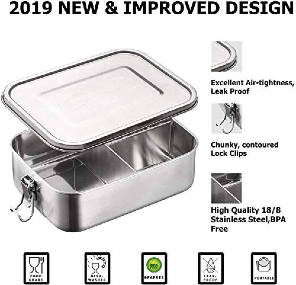 capacidad de 1200 ml con compartimentos Fiambrera de acero inoxidable Eco de AMITD fiambrera de acero inoxidable Bento Box de metal densa para el almuerzo a prueba de fugas