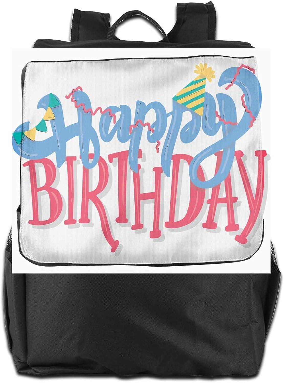 Happy Birthday Living Printed Girls Backpack Lightweight Casual Shoulder Bag School Daypacks