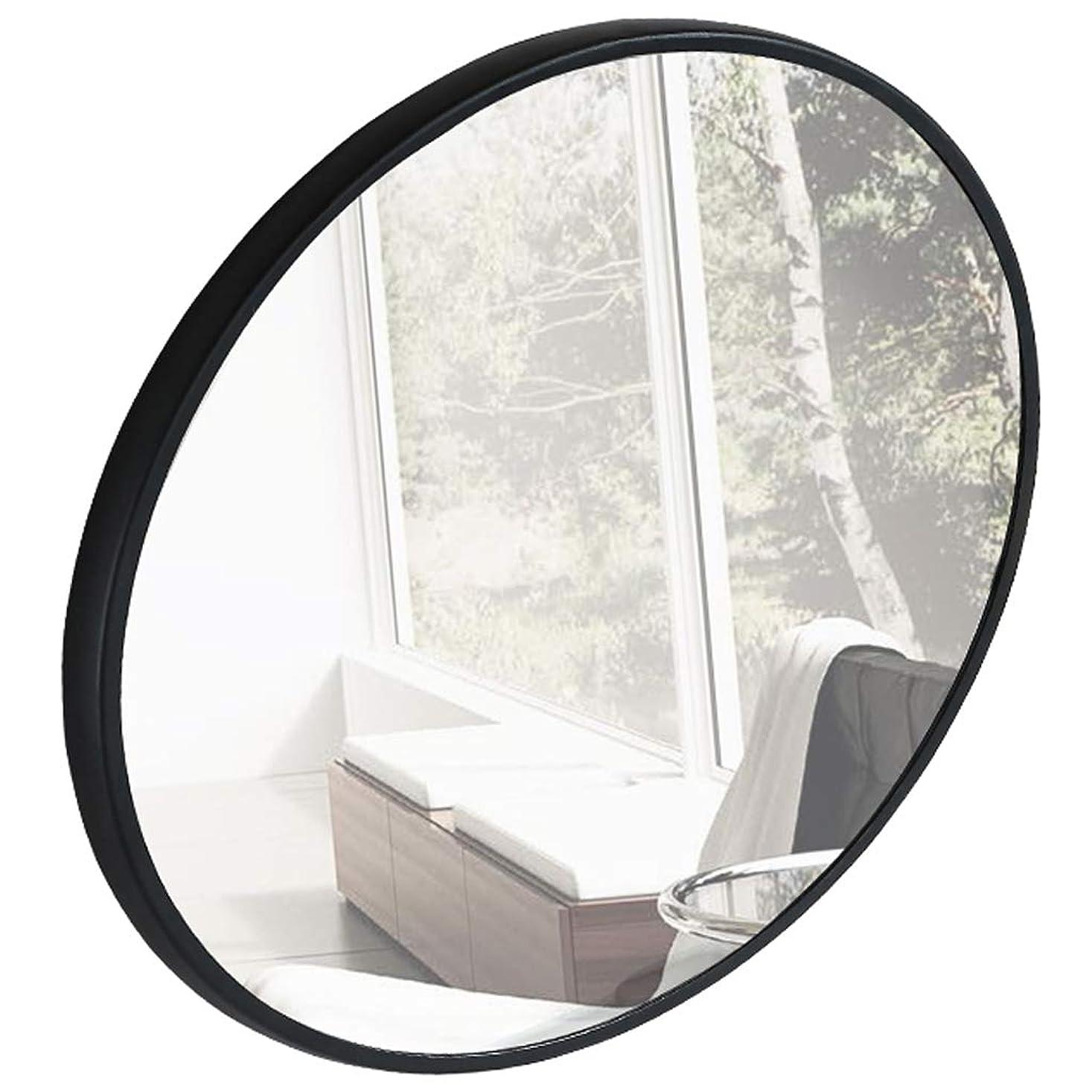 蒸理由コーナー大型丸壁鏡(ブラックメタルフレーム、直径:50-80cm)