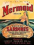 Feeling at home Lienzo-con-AMERICANA-BOX-Mermaid-Brand-Ahumada-Sardinas-Desconocido-Alimento-Fine-Art-impresión-en marco de madera-Vertical-28x21_in