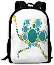 Adult Travelc Laptop Backpack,Abstract Geometric Circles And Dots Featured Modern Mammal Pattern,College School Computer Bookbag