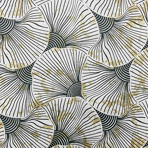 Kt KILOtela Tela por Metros de loneta Estampada Digital - Half Panamá 100% algodón - Ancho 280 cm - Largo a elección de 50 en 50 cm | Hojas Ginkgo - Gris, Amarillo Dorado