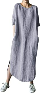 AUDATE - Vestito da donna in lino e cotone, a maniche lunghe, maxi abito con scollo rotondo