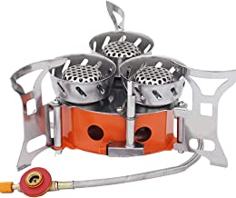 Gluckluz Camping Stove Gas Burner Outdoor Cooking Portable Windproof 9000W Stove with Windshield 3 Core Head Piezo Ignitio...