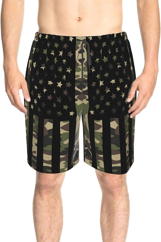 JINJUELS Mens Swim Trunks American Flag Army Color Beach Board Shorts Drawstring 3D Printed Summer Beach Shorts