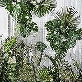 PietyPet 68 Stück 8 Arten Tropische Pflanze Palm Blätter Monsterablätter, Plastikpalmenblätter, künstliche Palmenblätter mit Stielen, für Hawaiische Luau Dschungel Strand Thema Tischdekoration - 5