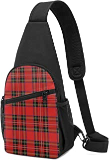 PGTry Royal Stewart - Mochila bandolera de tartán, ligera, para llevar al hombro, bolsa cruzada, para viajes, senderismo, ...