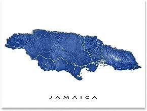 Jamaica Map Print, Tropical Caribbean Island, Street Art, Kingston, Negril, Montego Bay