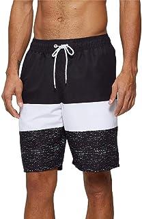 Arcweg Mens Swimming Shorts Knee Length with Pockets Swimming Trunks Mens Long Adjustable Drawstring Elastic Waist Board S...