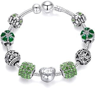 Long Way Silver Tone Chain Pink Crystal Love Heart Bead Glass Charm Bracelet & DIY Jewelry Original Bracelets