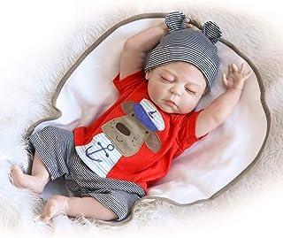 人形ドール 22インチの再生人形シミュレーション赤ちゃん睡眠シリコーン人形の女の子夢幼児シリコーン57 cm、57 cm-おしゃぶりフィーディングボトル