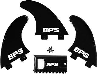 BPS Fiberglass Reinforced Surfboard Fins (3) + FCS Screw Hardware and Wax Comb! Glass Flex Thruster Surf Fin Set (FCS G5 M...