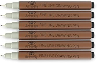 Fine Tip Inking Sepia Pens for Drawing Archival Ink Pen Multiliner Fineliner Brown Sketching Pens for Illustration Manga Writing