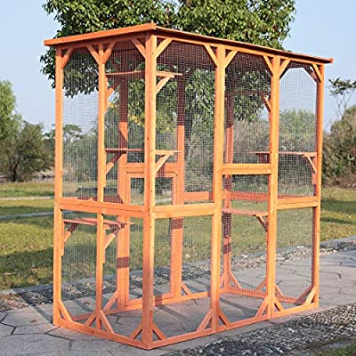 """COZIWOW 66.5""""x34.6""""x71"""" Large Wooden Outdoor Pet Cat Dog Enclosure Catio Cage with 6 Platforms, Weatherproof Roof, Ventilated, Yellow"""