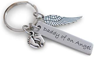 Daddy of an Angel Engraved Keychain, Baby Memorial Keychain, Wing Charm and Baby Feet Charm
