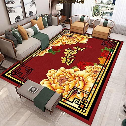 CCTYJ Rojo Oro Amarillo floración Floral patrón Oriental Estilo étnico Dormitorio Corredor Oficina salón decoración alfombra-160x230cm Calidad Precio relación demás Limpiar salón