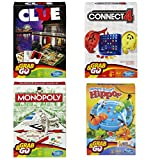 Hasbro Family Grab and Go Variety Pack Bundle: Clue, Monopoly, Connect 4 and Hungry Hungry Hippos Travel Sized Board Games (4 Items)