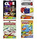 Hasbro Family Grab & Go Variety Pack Bundle Clue, Monopoly, Connect 4, and Hungry Hungry Hippo Board Games