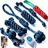 DOGGIE DOG Cotton Polyester Mix Chew Dog Toys for Small and Medium Puppies with eBook (Bob Barker Blue (7 in 1 Combo))