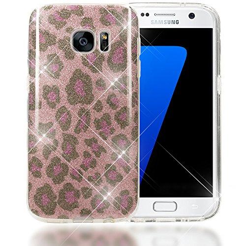 Samsung Galaxy S7 Hoesje voor mobiele telefoon van NALIA, Glitter Leopard Slim Silicone Cover Beschermhoesje Glitter Leo Sparkle GSM-tas, dunne Bling Strass Phone Etui voor Samsung S7, roze lila