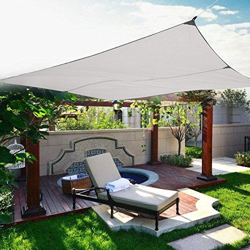 Cortina de la Vela, Toldo de Toldo de Protección Solar de Vela de Sombra Cuadrada con 4 Cuerdas para Fiesta de Patio de Jardín al Aire Libre (3 x 4 m, Beige)