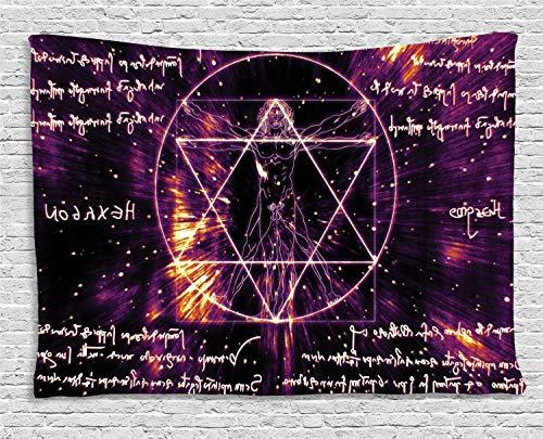 ABAKUHAUS Sagrado Tapiz de Pared, El Hombre De Vitruvio Símbolo Oculto, para el Dormitorio Apto Lavadora y Secadora Estampado Digital, 150 x 100 cm, Púrpura