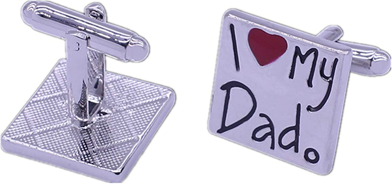GH8 Mens Classic Stainless Steel Cufflinks I Love My dad Cufflinks Business Wedding Shirts Father's Day