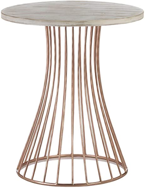 Nikki Chu Rose Gold Base Circle Accent Side Table 20 X 20 X 23