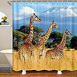 Giraffenstoff Duschvorhang 180x200 Wilde Eltern Kind Giraffe Wasserdichtes Duschvorhang Textil Jungen Mädchen Safari Tiere Druck Zoo Tier Natur