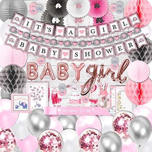 385 Piece Pink Elephant Baby Shower Decorations for Girl Kit - It's a Girl Pre-Strung Banners Garland Guestbook Sash Balloons Cake Toppers Paper Fans Lanterns Napkins Straws Games & Thank You Stickers