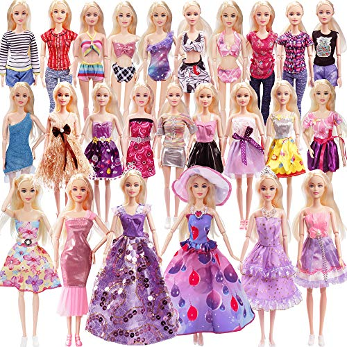 36 Pack Doll Clothes and Accessories - 1 Princess Dress 5 Fashion Dress Cloth 3 Top and Pants 3 Bikini Swimsuits 10 Shoes 14 Other Doll Accessories Size Suit for 11.5 Inch Dolls