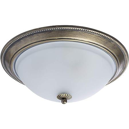 MW-Light 450015503 Plafonnier Rond Design Rustique Ancien en Métal couleur Bronze Antique Abat-jour Coupole en Verre Blanc Mat pour Cuisine Salle de Bain WC 3x60W E27