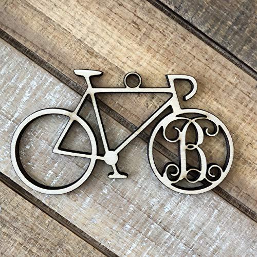 Monogram Bicycle Christmas Ornament - Personalized Cycling Ornament - Bicycle Ornament -Bicycle Initial Christmas Ornament -Gift for Cyclist
