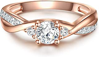Tresor 1934 Women's Engagement Ring 925 Sterling Silver Rose Gold Plated with Brilliant Cut Cubic Zirconia - Wrap Ring in Rose Gold Coloured Wedding Ring in Solitaire Look