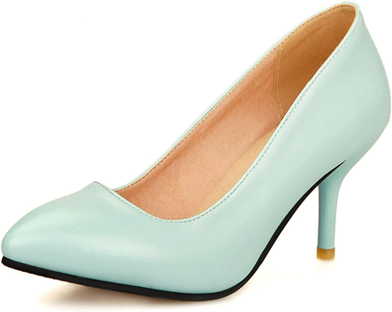 DoraTasia Shallow Pointed Toe Slip on Thin Heel Women's Pumps
