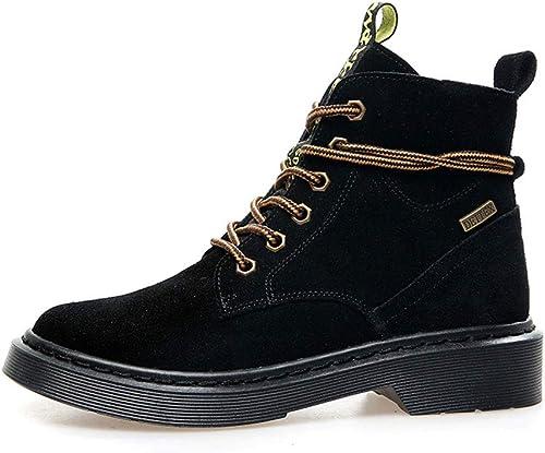 HPLL Zapato Stiefel Martin para damen, Stiefel de Tubo Medio, Stiefel locomotoras de Fondo Plano, otoño al Aire Libre
