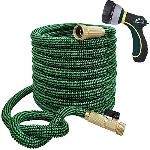 TheFitLife Flexible and Expandable Garden Hose - 13-Layer Latex Water Hose with Retractable Fabric, Solid Brass Fittings and Nozzle, Kink Free, Lightweight, Collapsible Expending Hose (25 FT)