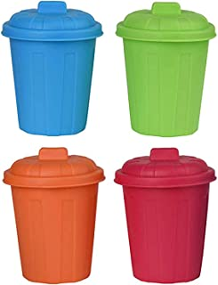 Plastic Mini Garbage Cans Toy Playset - Assorted Color Holder Containers Used for Pencil Holder, Desktop Organizer, Fun Playing, Novelty and Party Favors Multicolored 3.5