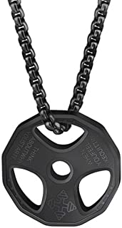QEPOL Dumbbell Pendant Necklace,Titanium Stainless Steel Fitness Gym Necklace Weight Plate Barbell Dumbbell Necklaces Men ...