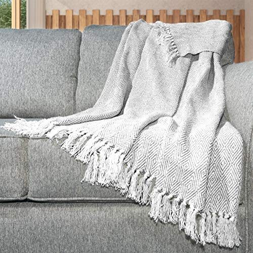Home Maison Selina Metallic Herringbone Cotton Throw...