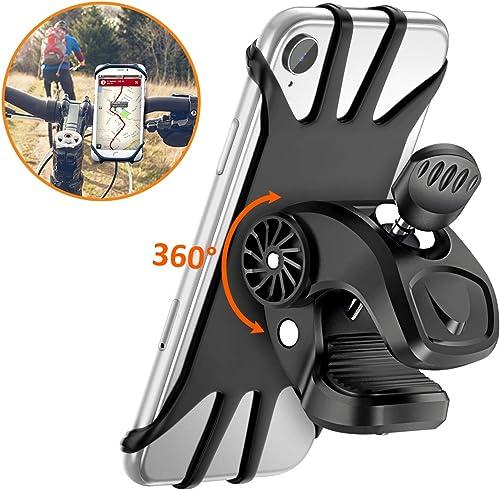 Cocoda Support Téléphone Vélo, Support Moto de Guidon Universel Rotatif à 360 Degrés Anti-Vibrations en Silicone Régl...