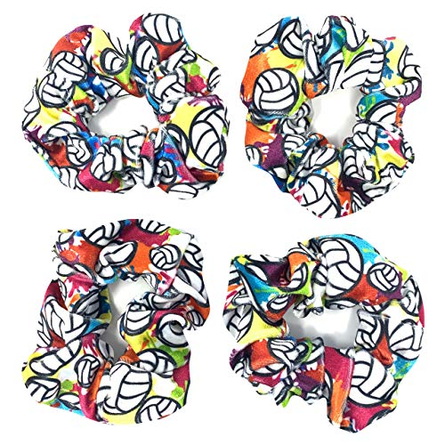 Volleyball Scrunchies, Velvet Hair Ties Headband Accessory, Set of 4 Tie-Dye…